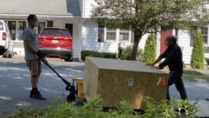 sculpture arrives in crate
